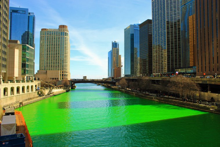 Chicago River dyed green on St. Patrick's Day