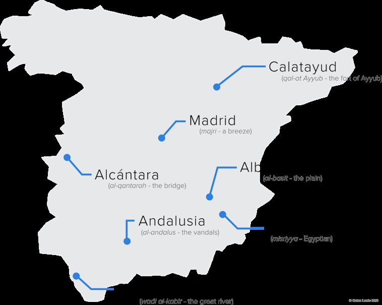 Map of Arabic Influence in Spain
